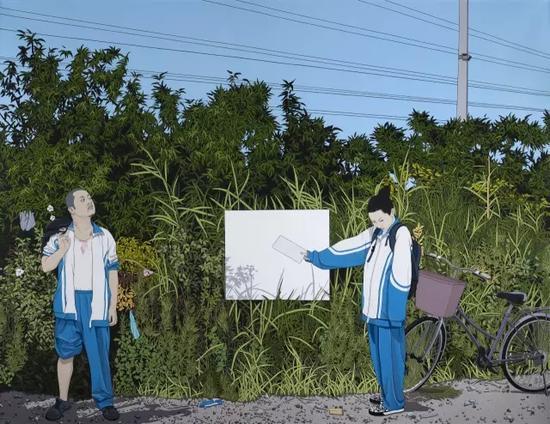 《不羁的青春》,2015,亚麻布、丙烯,180 × 240 cm